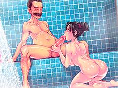 Boquete pro papai no banho em família